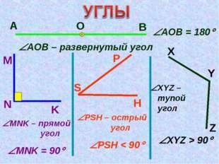 А О В АОВ – развернутый угол M N K MNK – прямой угол АОВ = 180 MNK = 90