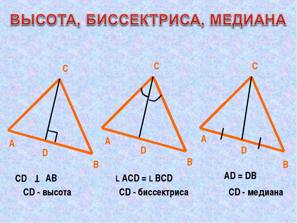 А В С А В С А В С D CD Т АВ СD - высота D L АСD = L ВСD CD - биссектриса D AD...