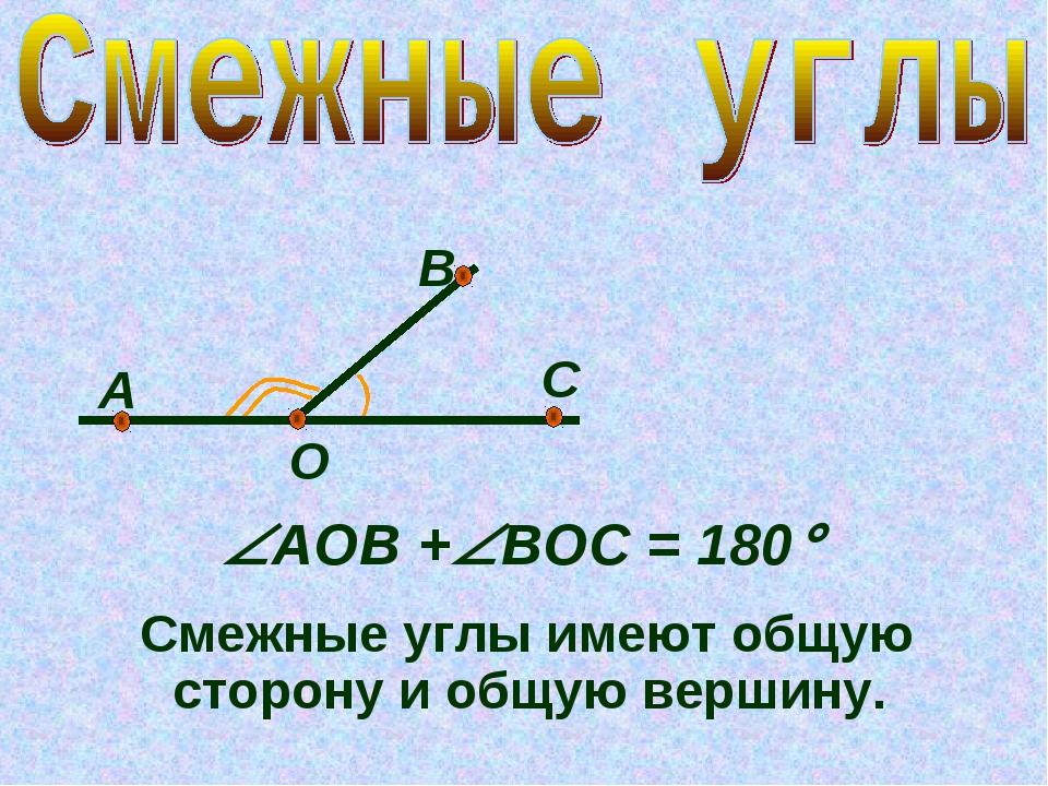 О А В С АОB +ВОС = 180 Смежные углы имеют общую сторону и общую вершину.