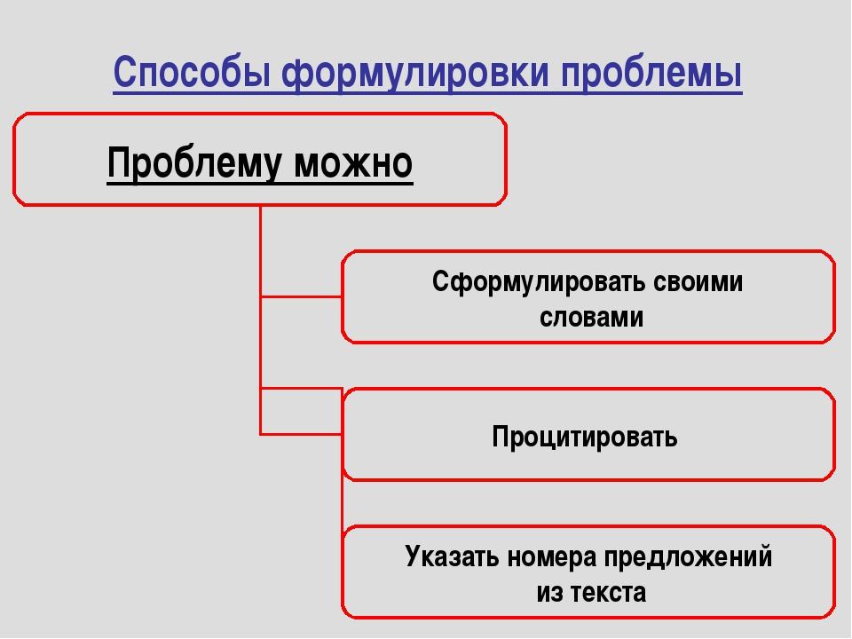 Способы формулировки проблемы