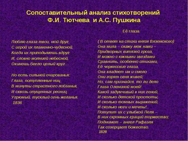 Сопоставительный анализ стихотворений Ф.И. Тютчева и А.С. Пушкина Люблю глаза...