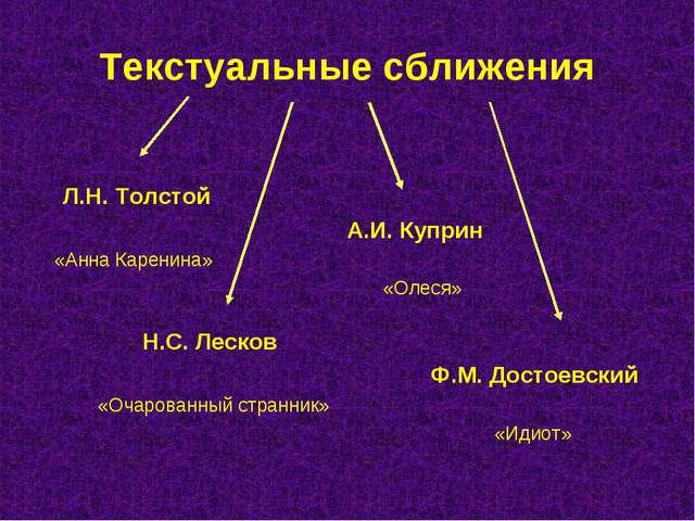 Текстуальные сближения Л.Н. Толстой А.И. Куприн «Анна Каренина» «Олеся» Н.С....