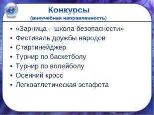 «Зарница – школа безопасности» Фестиваль дружбы народов Стартинейджер Турнир