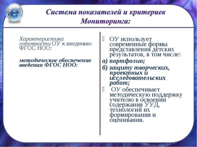 Характеристика готовности ОУ к введению ФГОС НОО: методическое обеспечение...