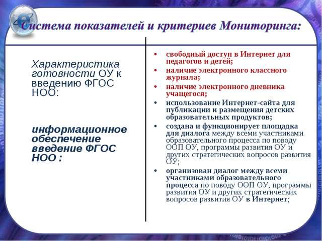 Характеристика готовности ОУ к введению ФГОС НОО: информационное обеспечени...