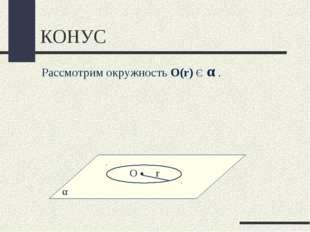 КОНУС α Рассмотрим окружность О(r) Є α .