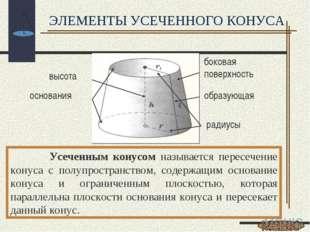 Усеченным конусом называется пересечение конуса с полупространством, содержа