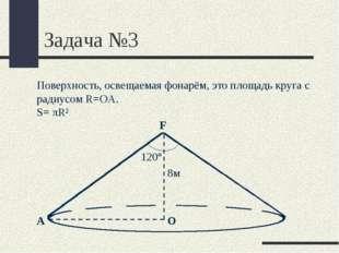 Задача №3 F О Поверхность, освещаемая фонарём, это площадь круга с радиусом R