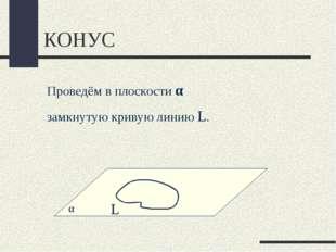 КОНУС Проведём в плоскости α замкнутую кривую линию L. L