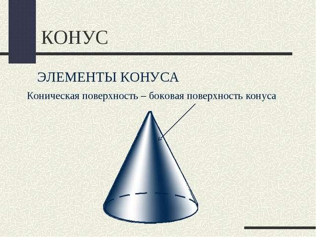 КОНУС ЭЛЕМЕНТЫ КОНУСА Коническая поверхность – боковая поверхность конуса
