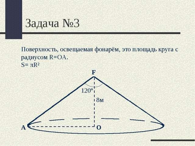 Задача №3 F О Поверхность, освещаемая фонарём, это площадь круга с радиусом R...