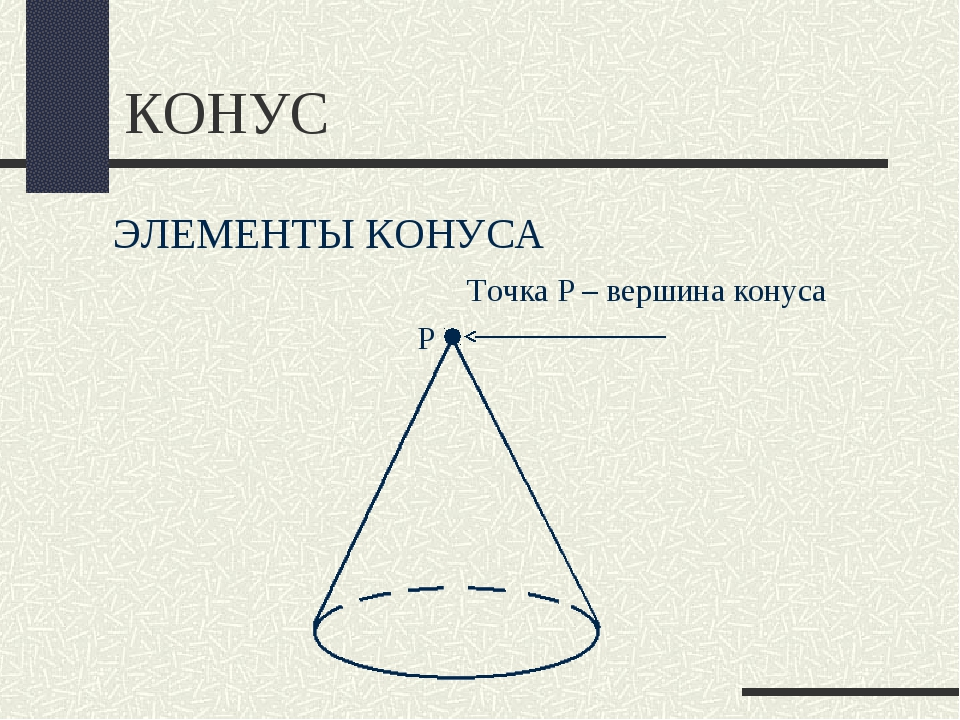 КОНУС ЭЛЕМЕНТЫ КОНУСА Точка Р – вершина конуса