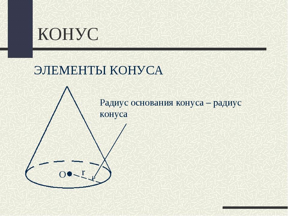 КОНУС ЭЛЕМЕНТЫ КОНУСА Радиус основания конуса – радиус конуса r