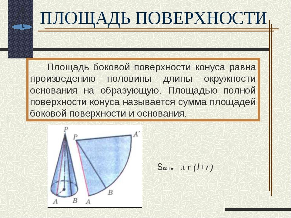 Площадь боковой поверхности конуса равна произведению половины длины окружно...