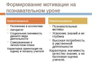 Формирование мотивации на познавательном уроне Положение в коллективе Авторит