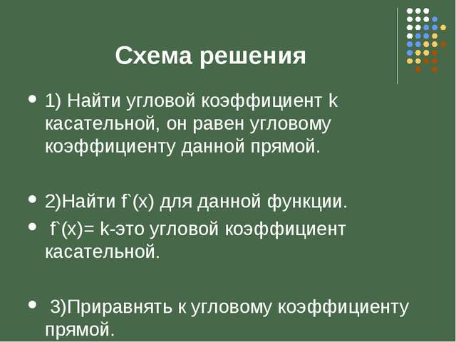 1) Найти угловой коэффициент k касательной, он равен угловому коэффициенту да...