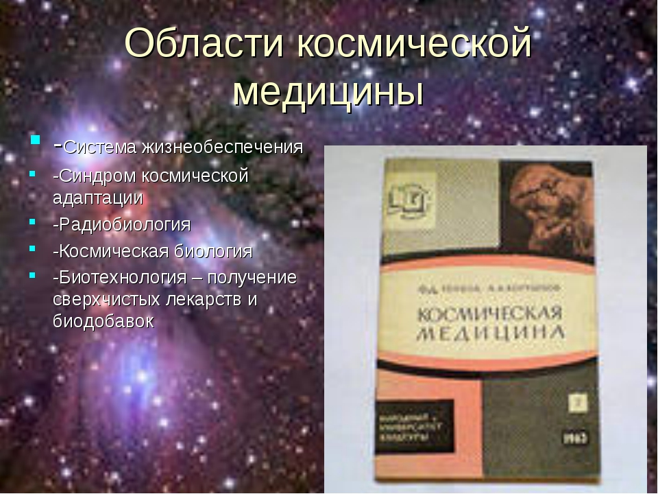 Области космической медицины -Система жизнеобеспечения -Синдром космической а...