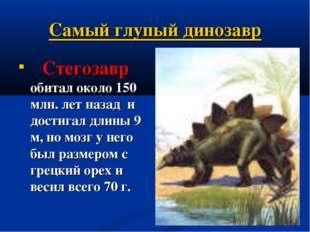 Самый глупый динозавр  Стегозавр обитал около 150 млн. лет назад и достигал