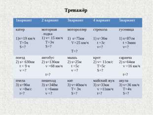 Тренажёр 1вариант2 вариант3вариант4 вариант5вариант катер 1)v=19 км/ч T=5