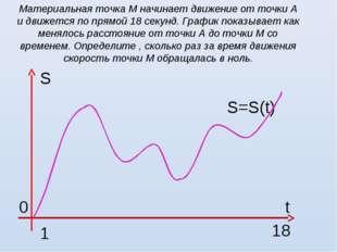 Материальная точка М начинает движение от точки А и движется по прямой 18 сек