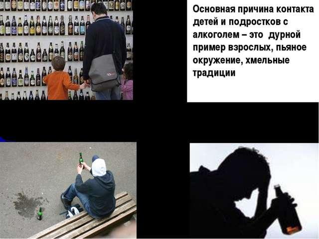 Основная причина контакта детей и подростков с алкоголем – это дурной пример...