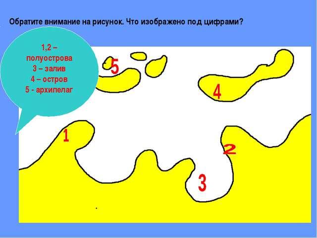 Обратите внимание на рисунок. Что изображено под цифрами? 1,2 – полуострова 3...