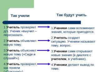 Так учили Так будут учить 1.Учитель проверяет д/з. Ученик «выучил – пересказа