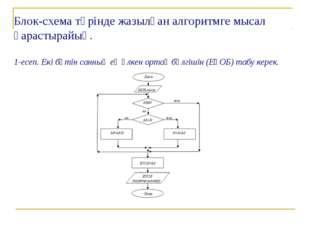 Блок-схема түрінде жазылған алгоритмге мысал қарастырайық. 1-есеп. Екі бүтін