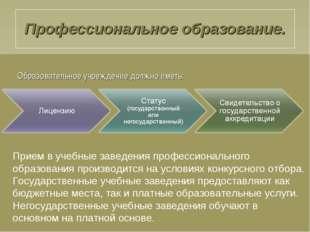 Образовательное учреждение должно иметь: Прием в учебные заведения профессио