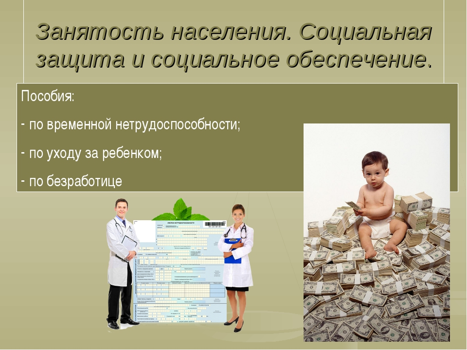 Занятость населения. Социальная защита и социальное обеспечение. Пособия: по...