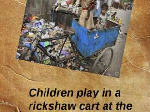 Children play in a rickshaw cart at the dump. 12