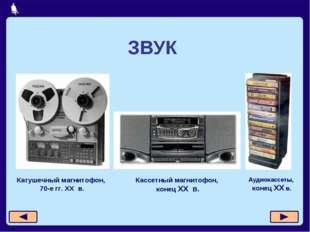 ЗВУК Катушечный магнитофон, 70-е гг. XX в. Кассетный магнитофон, конец XX в.