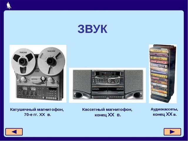 ЗВУК Катушечный магнитофон, 70-е гг. XX в. Кассетный магнитофон, конец XX в....