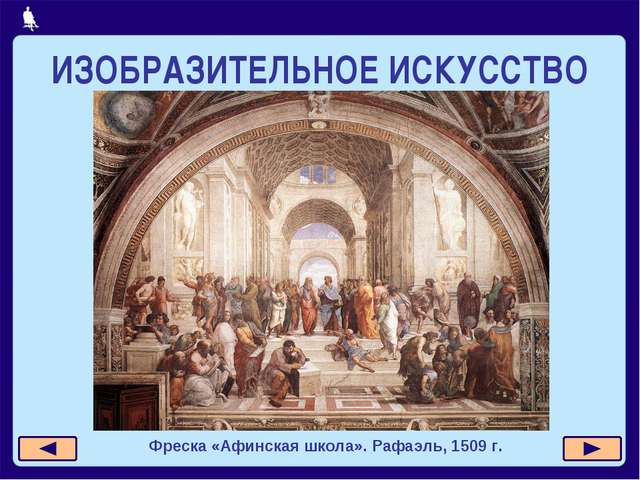 ИЗОБРАЗИТЕЛЬНОЕ ИСКУССТВО Фреска «Афинская школа». Рафаэль, 1509 г.