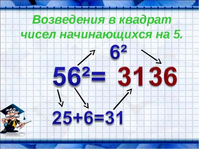 Возведения в квадрат чисел начинающихся на 5.