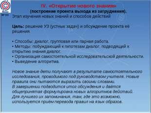 IV. «Открытие нового знания» (построение проекта выхода из затруднения). Этап