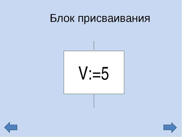Блок присваивания V:=5