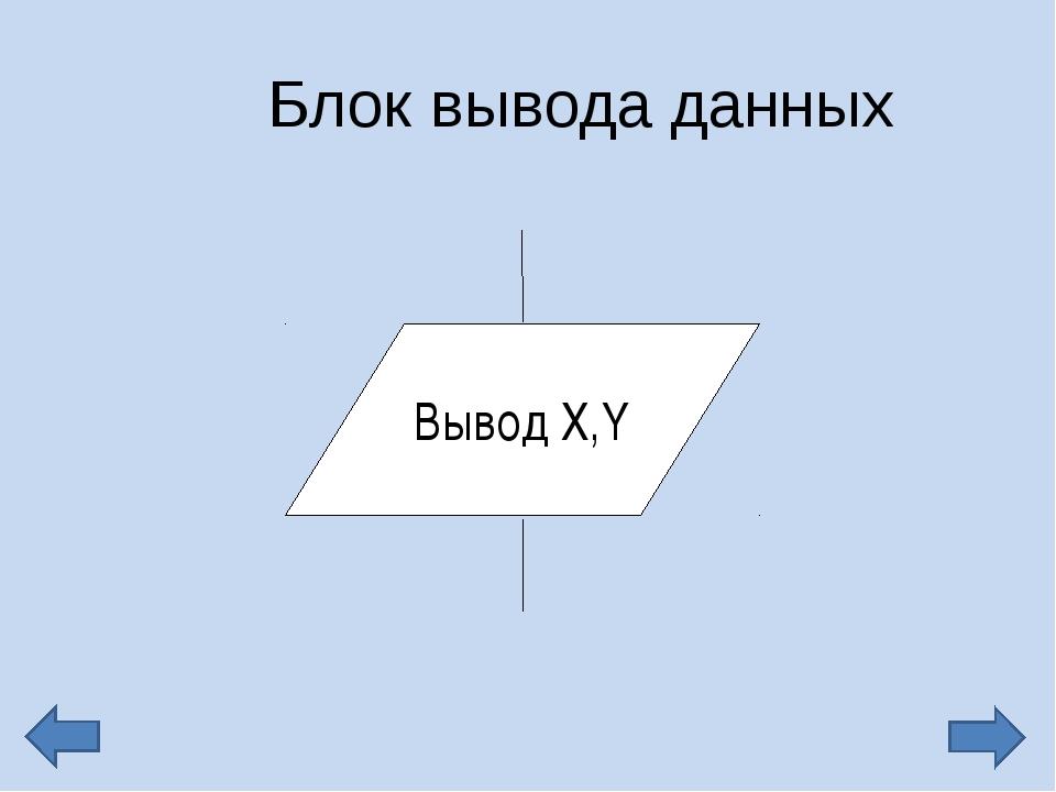 Блок вывода данных Вывод Х,Y