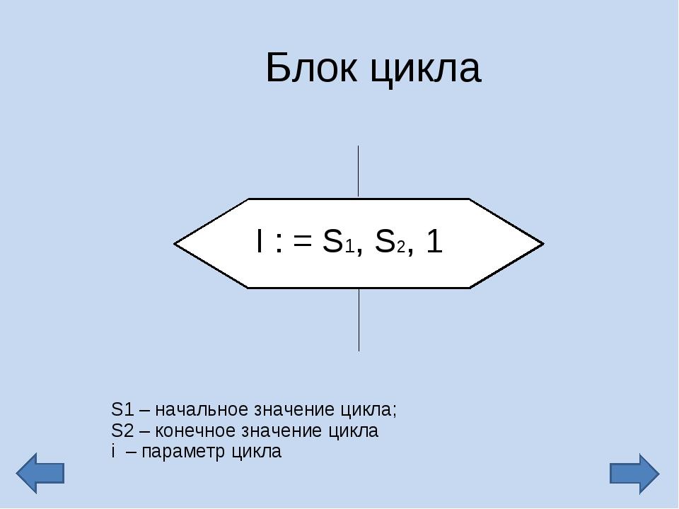 Блок цикла S1 – начальное значение цикла; S2 – конечное значение цикла i – па...