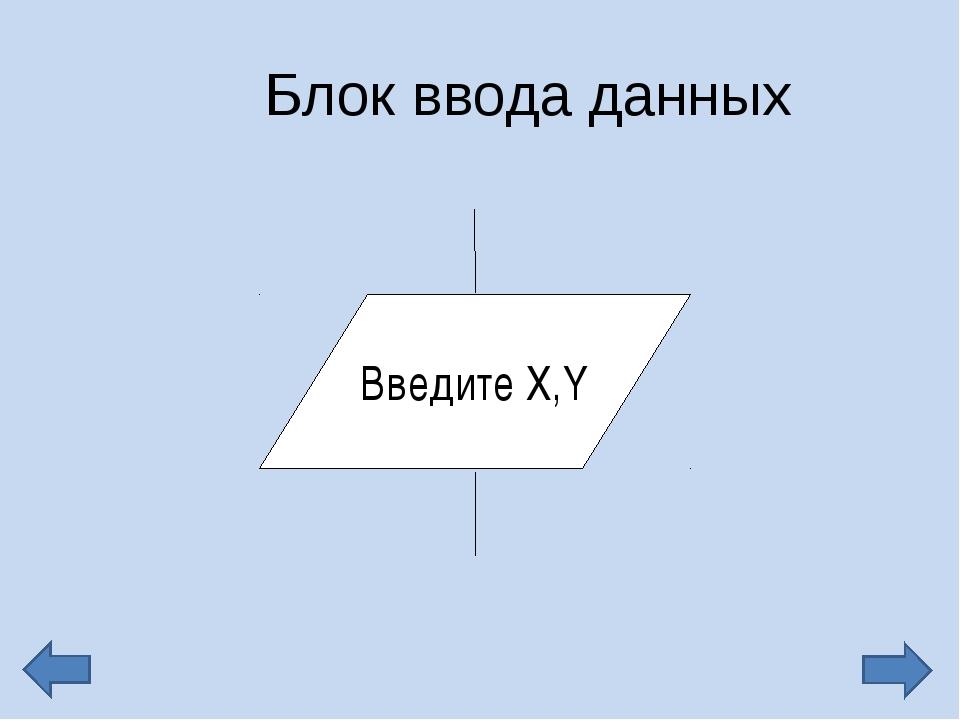 Блок ввода данных Введите Х,Y