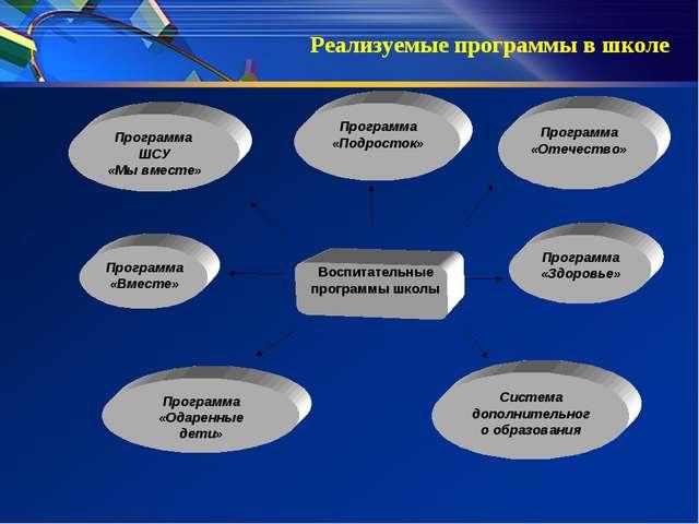 Воспитательные программы школы Программа «Подросток» Программа ШСУ «Мы вмест...