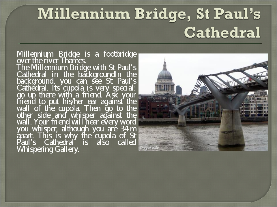 Millennium Bridge is a footbridge over the river Thames. The Millennium Bridg...