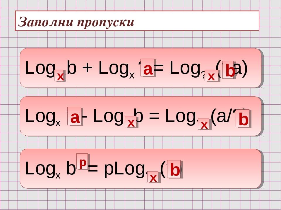 Заполни пропуски Log? b + Logx ? = Log? (?a) Logx ? - Log? b = Log? (a/?) Log...