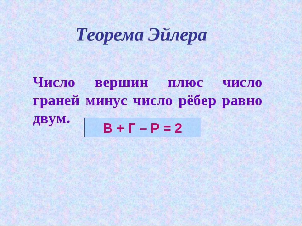Теорема Эйлера Число вершин плюс число граней минус число рёбер равно двум. ...