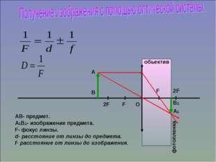 фотопленка АВ- предмет. А1В1- изображение предмета. F- фокус линзы. d- расст