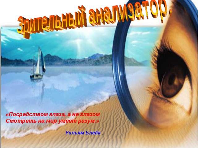 «Посредством глаза, а не глазом Смотреть на мир умеет разум.» Уильям Блейк .