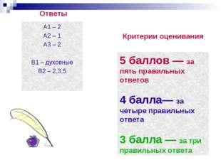 Ответы А1 – 2 А2 – 1 А3 – 2 В1 – духовные В2 – 2,3,5 Критерии оценивания 5 ба