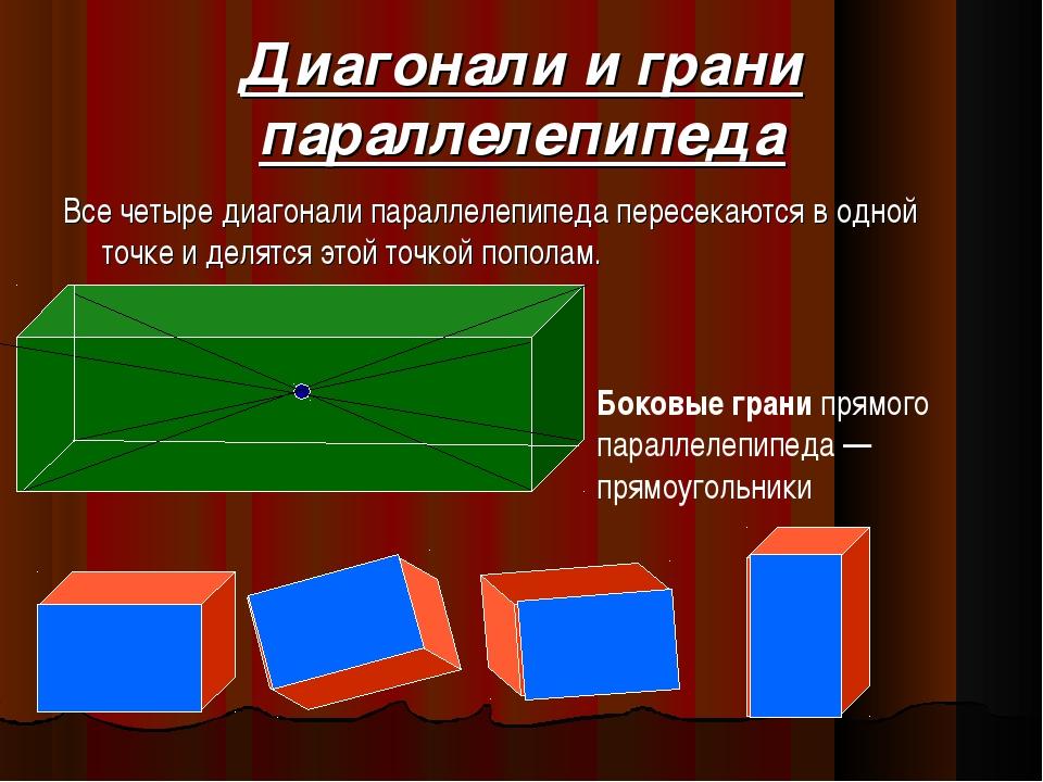 Диагонали и грани параллелепипеда Все четыре диагонали параллелепипеда пересе...