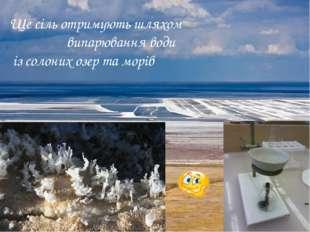 Ще сіль отримують шляхом випарювання води із солоних озер та морів