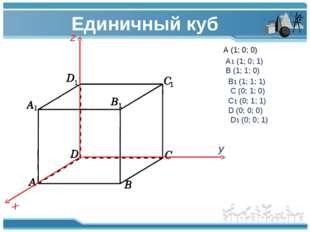 Единичный куб z x y A (1; 0; 0) A1 (1; 0; 1) B (1; 1; 0) B1 (1; 1; 1) C (0;